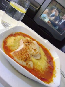 Chicken Breast with Tomatoe and Bell Pepper Sauce over Corn Bread Puree