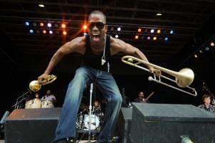 Trombone Shorty at Philadelphia Folk Festival - Photo by Laura Carbone
