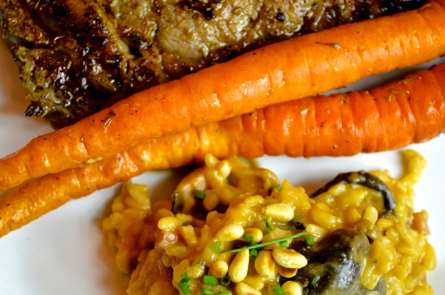 Steak, carrots and risotto