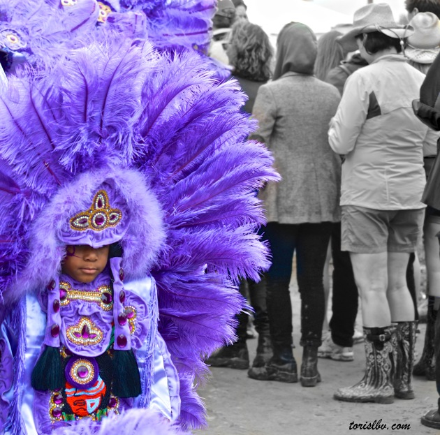 A little Mardi Gras Indian at the New Orleans Jazz and Heritage Festival. (May/ New Orleans. LA)