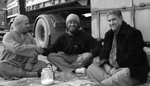 Having a tea break on the dock in Iraq. Umm Qsar, Iraq. (December 2009)