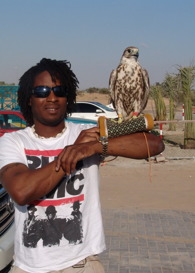 Hoping this falcon doesn't gouge my eyes out. Dubia, U.A.E. (January 2010)