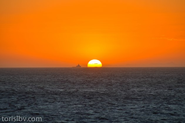Sun setting off the coast of Brazil. (August 2013)
