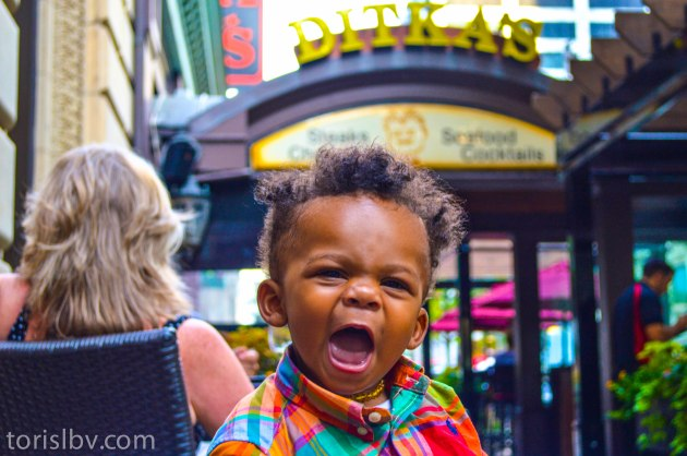 Devin pumped about eating at Ditka's Steakhouse (July/Chicago, Illinois)