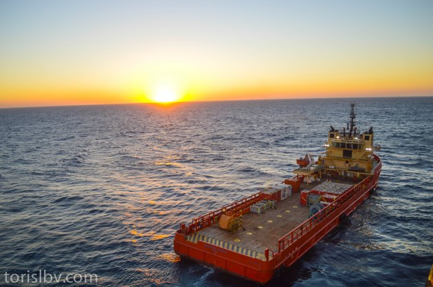 Santos Scout alongside our drillship. (South Atlantic Ocean, Brazil)