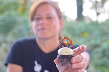 Chocolate Stout Mini Cupcake: Chocolate stout cake with cream cheese frosting and chocolate dipped pretzel.